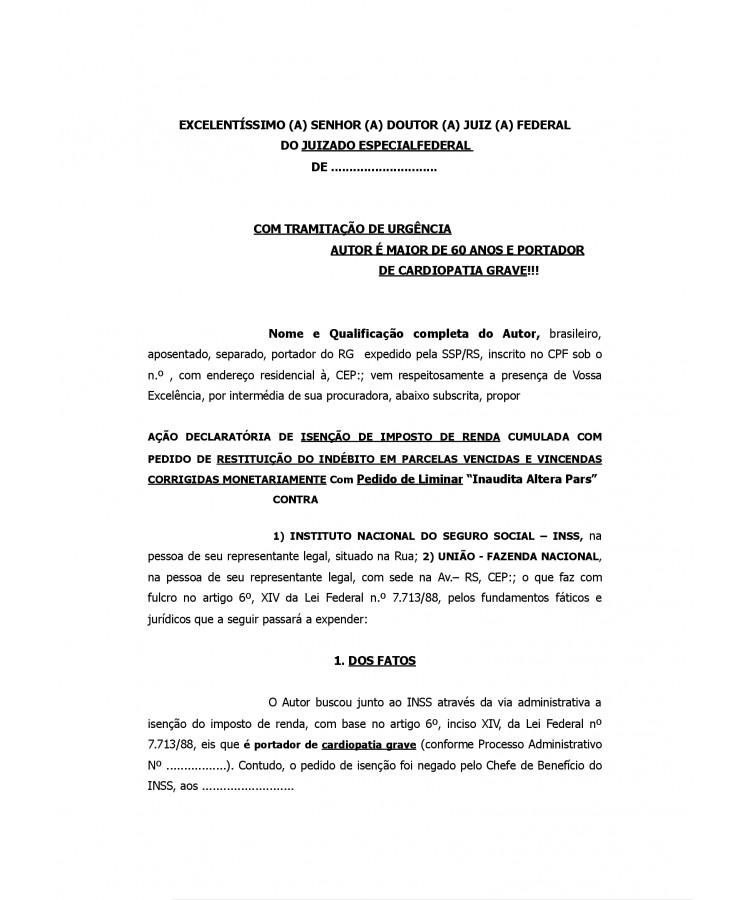 Modelo Inicial Ação Declaratória De Isenção De Imposto De