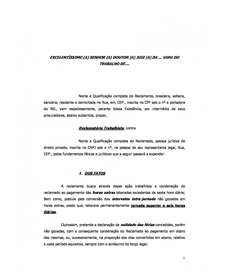 Modelo Inicial Reclamatória Trabalhistahoras Extrasquebra