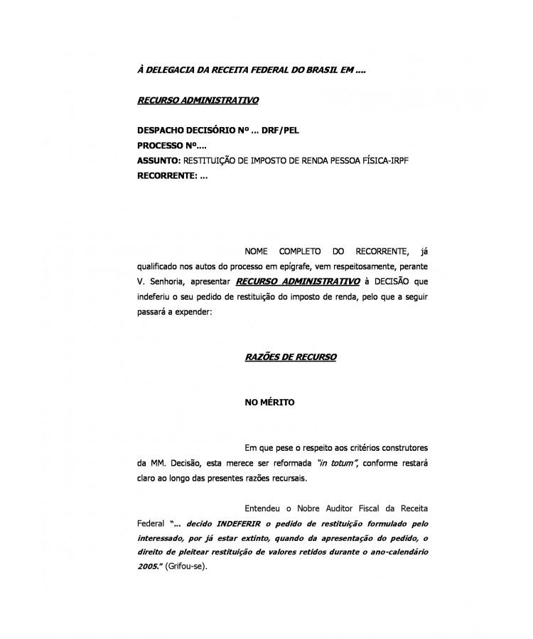 Modelo Recurso Administrativo à Receita Federal Restituição