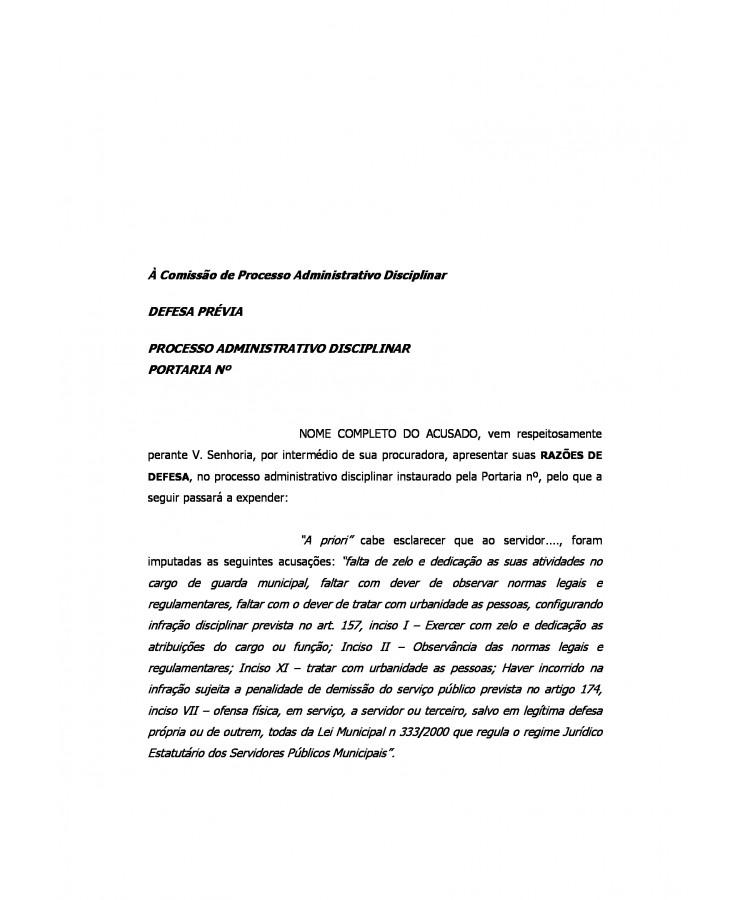 Modelo Defesa Administrativa Em Processo Administrativo