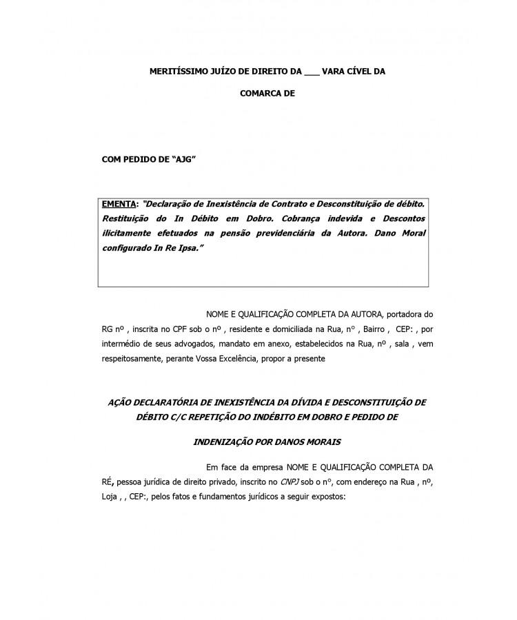 Modelo Inicial Ação Declaratória Inexistência De Débito