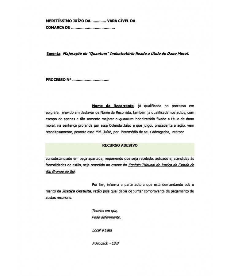 Modelo Recurso Adesivo De Apelação Cível Petições Cíveis