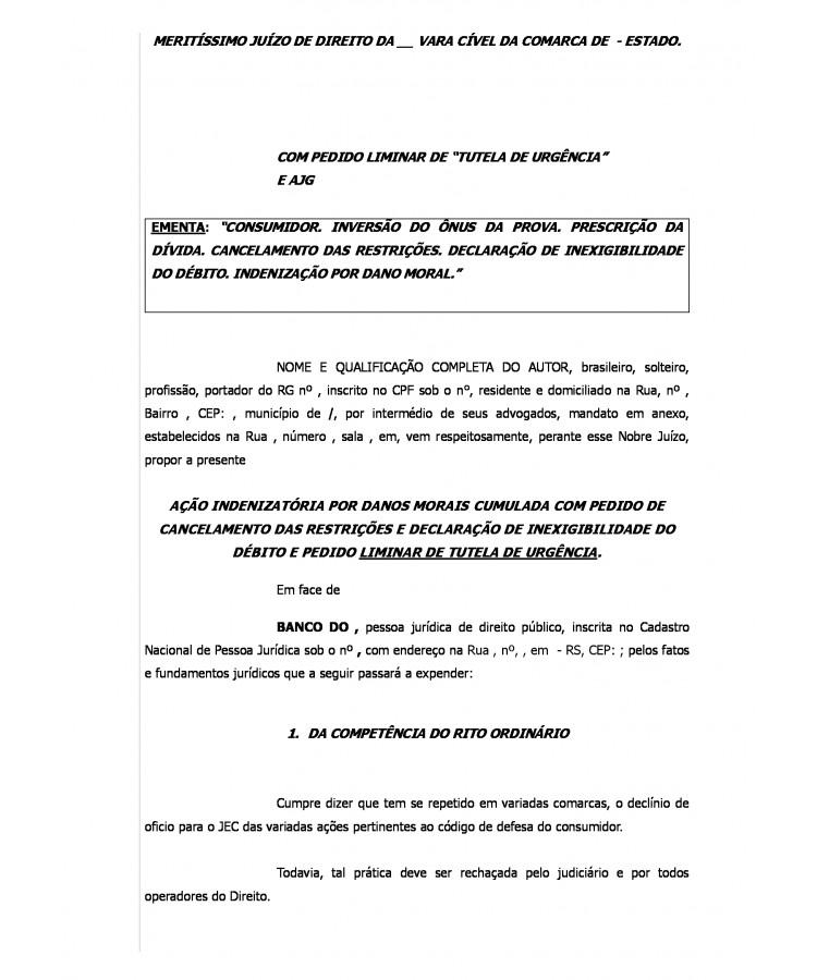 Modelo Inicial Ação Declaratória De Inexigibilidade Do
