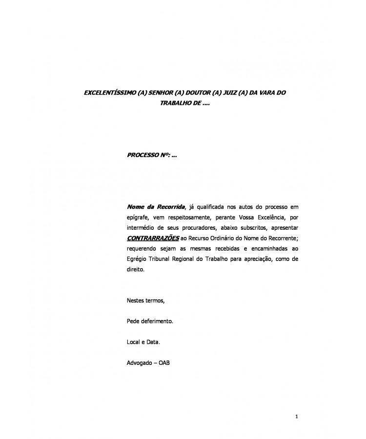 Modelo Contrarrazões à Recurso Ordinário Da Reclamada